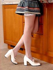 sexy secretary in white stockings