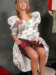 Busty Bonny in stockings