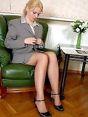 Nasty secretary babes in smooth tights ready to share their favorite dildo