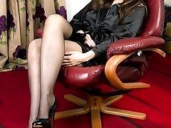 Sophia in slinky satin robe over her shiny black nylon hose!