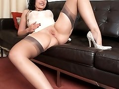 Sophia in classic nylons and lingerie