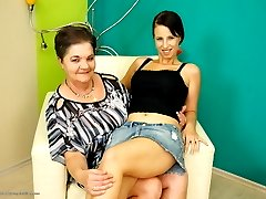 Horny old and young lesbian couple fooling around