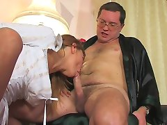 Sexy coed going to the professor to take extra fucking and sucking lessons