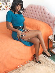 Dirty, black, mature Nina unwinds in her vintage nylons, heels and garter belt...