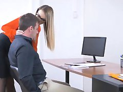 Stunning blonde woman Katrin Tequila pounded on office desk