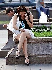Upskirt lover hunting girl in park
