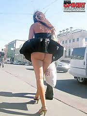 Girls in the streets windy upskirts