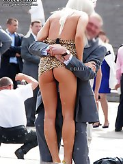 Hot milf and young blondie flash up skirt