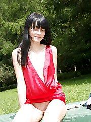 Red dress skirt up high