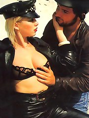 Retro biker babe gets cock