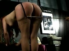 He wraps things up with a hard caning, leaving a few marks shell remember. You know, having a...