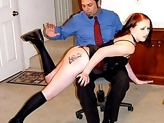 Secretary bends over the desk for a bare assed strapping - hot welted cheeks
