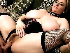 Hot milf with big tits enjoys hairy muff eating