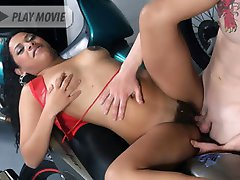 Cute Latina Ticiany spreads her legs wide to show off her thick pubes while sucking off a dick