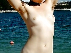 Punky nature girl with hairy pussy and armpits