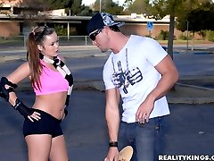 Super sexy skater babe kaci in boy shorts gets her hot bush pounded hard in these hot pussy...