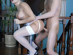 Curvaceous blonde mommy gets some cum-on-ass after a quick arse shagging