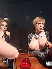 Taking a break from family holiday obligations, Darling wanders into the local dyke bar where Daisy Ducati and Mona Wales are visiting their hot bartender friend Mistress Kara. It doesn't take long for Darling to succumb to the advances of the three ladies who take her to the basement, sit on her face, finger her cunt, and run a orgasmic lesbian strap-on train on all of her holes! The adventure includes florentine flogging, cropping, spanking, pussy licking, pussy clamps and tons of pussy, anal, and DP strap-on fucking!