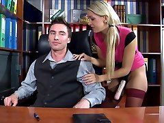 Naughty sec swaps roles with her boss fucking his nasty butt with a strapon