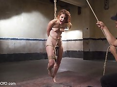 Gorgeous red-head submissive pain slut Amarna Miller wants to be tied up and flogged before you...