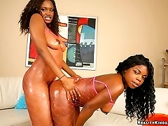 Madison and her hot ebony booty babe get slammed by a lucky guy in these threesome pics