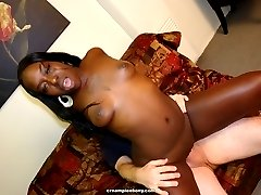 Ebony gets a messy cumshots on her pussy