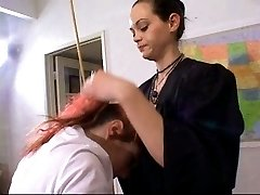 Redhead schoolgirl needs some motivation - OTK Cane
