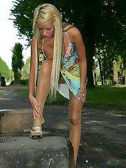 Blonde fairy upskirt view