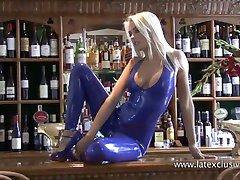 Beautiful blonde latex fetish babe Natasha