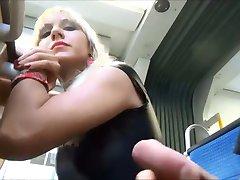 Amateur handjob blowjob on public bus