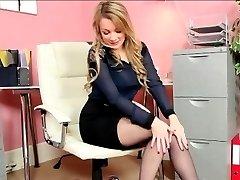 Blonde Secretary Strips In The Office