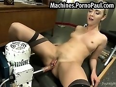 Tight blond fucked by machines