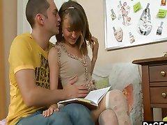 Home tutor fucks delicate schoolgirl