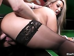 Glamorous looking fattie in fine black stockings fingered and fucked on a table