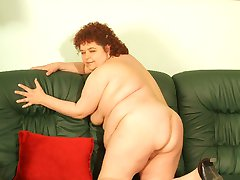 Milf fatty Gaborne bounces hard off a huge dick while she sucks off another one