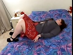 Fat girl poses in red lingerie and screws dude