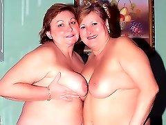 Anna and Yolanda are cute mature BBW playing with their huge titties and eating out their fat...