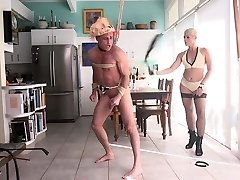 Tied up for handjob