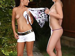 Lovely teens strip lick and finger