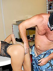 Horny milf barbara wants to get fucked behind the counter of a painball shop in these camouflauged hot movie pics
