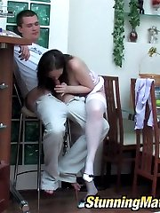 Red hot mature chick in white stockings eagerly jumping on throbbing shaft