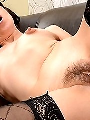 Hairy housewife getting wet and masturbating