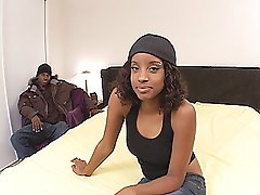 Wavy haired, pierced titty ebony teen cutie gets her pimp on with cock in her mouth