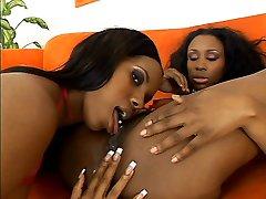Ebony girlfriends Kianna Jayde and Strokahontas alternately sucking and dildo fucking each other