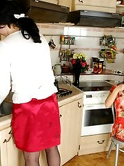 Lewd sissy on all his fours waiting for babes strap-on invasion in kitchen