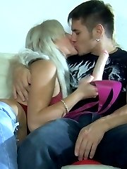 Lascivious babe with a strap-on prepares a guy for wild ass-fucking action