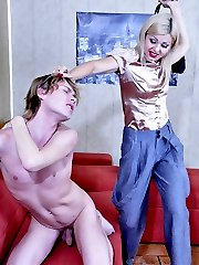 Found playing with a dildo guy gets punished by his gal with a strapon fuck
