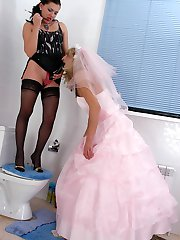 Sizzling hot sissy guy in wedding dress getting under harsh strap-on attack