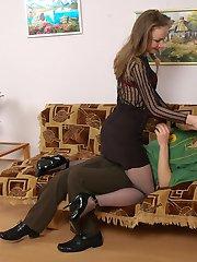 Nasty chick seducing her boyfriend to harsh strap-on fucking on the sofa