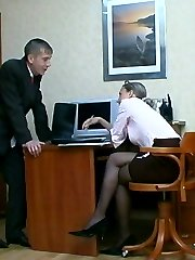 Hot co-worker falling a victim of strap-on armed gals scam to get his ass